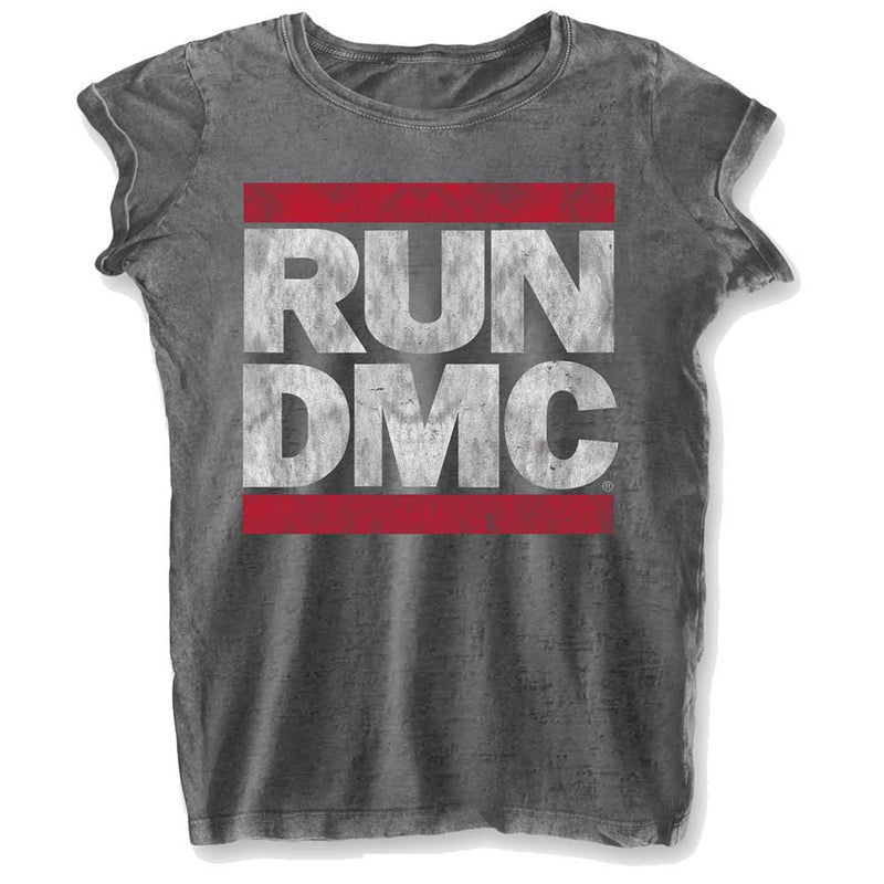 Run Dmc Logo Ladies Fashion Tee With Burn Out Finishing