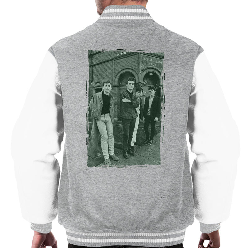 The Smiths In Manchester At Salford Lads Club Distressed Frame Men's Varsity Jacket - NME Merch