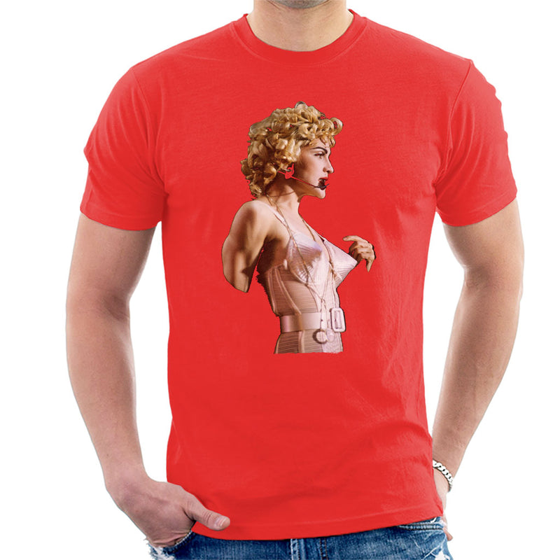 Madonna In Pink Cone Bra Corset Blonde Ambition Tour 1990 Men's T-Shirt - NME Merch