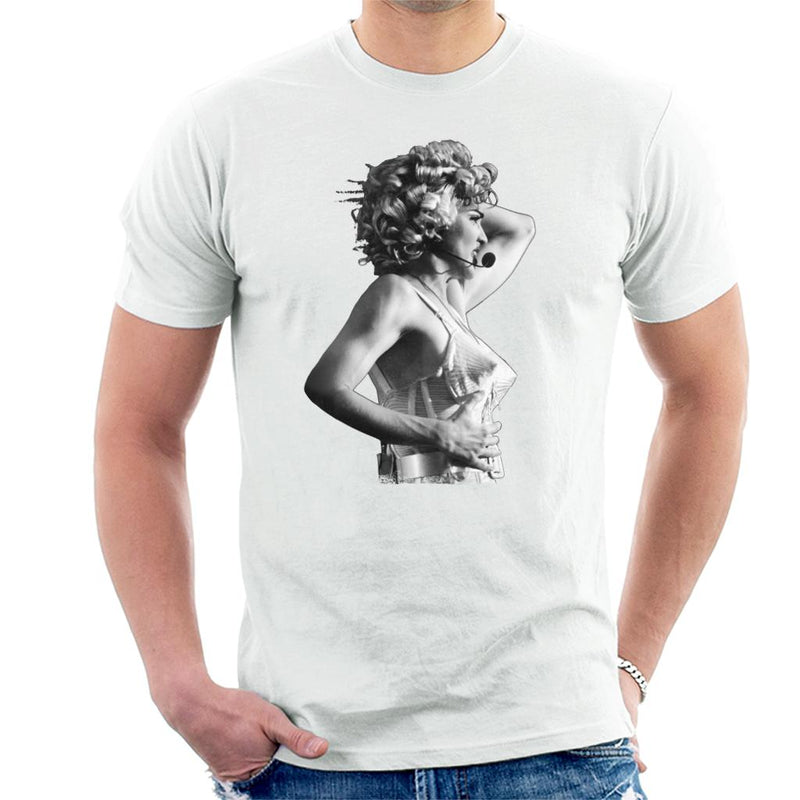 Madonna Black And White Cone Bra Corset Blonde Ambition Tour 1990 Men's T-Shirt - NME Merch
