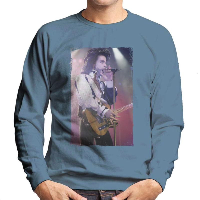 Prince Nude Tour 1991 Performing With Guitar Men's Sweatshirt - NME Merch