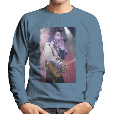 Prince Nude Tour 1991 Performing With Guitar Men's Sweatshirt