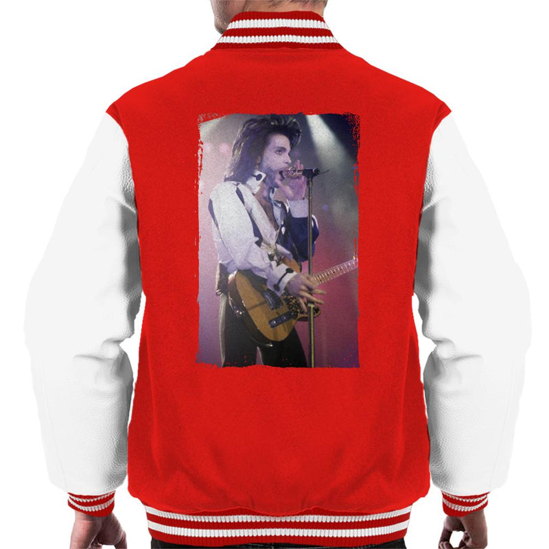 Prince Nude Tour 1991 Performing With Guitar Men's Varsity Jacket - NME Merch