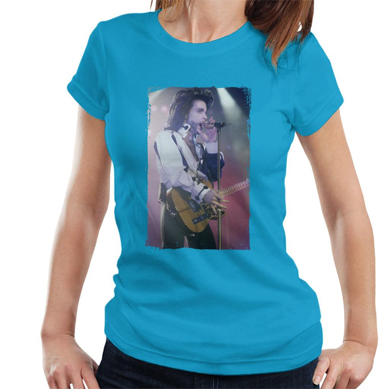 Prince Nude Tour 1991 Performing With Guitar Women's T-Shirt - NME Merch