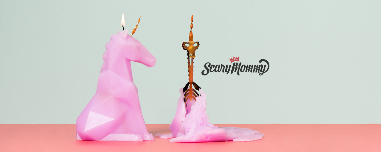 ScaryMommy.com features our Einar Pyropet skeleton candle!