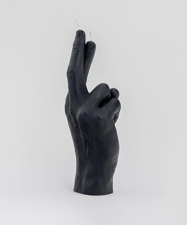 "CandleHand ""Crossed Fingers"" Black candle"