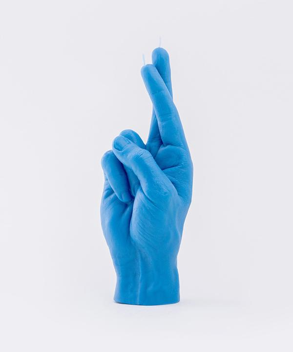 "CandleHand ""Crossed Fingers"" Blue candle"
