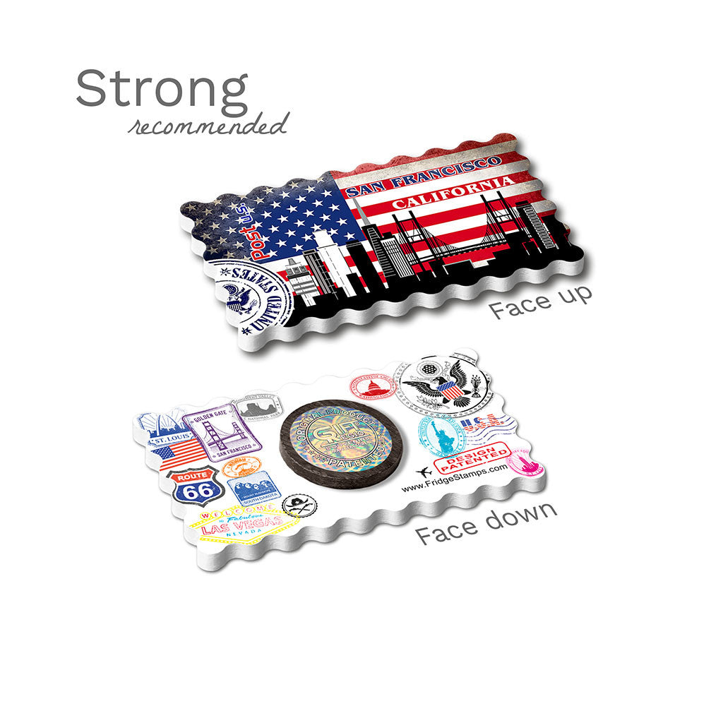 Strong Fridge Magnet - San Francisco Decorated USA Flag
