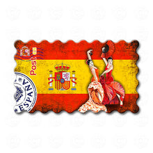 Spain - Flag of Spain decorated with Flamenco dancers
