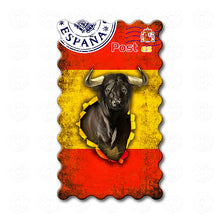 Spain - The flag of Spain decorated with Bull