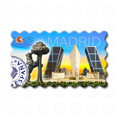 Madrid - The statue of the bear and The Gate of Europe towers