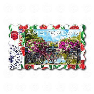 Fridge Magnet - Amsterdam Flowers, Bicycles
