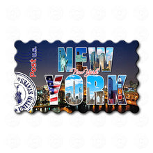 Fridge Magnet - Decorated New York Word at Night