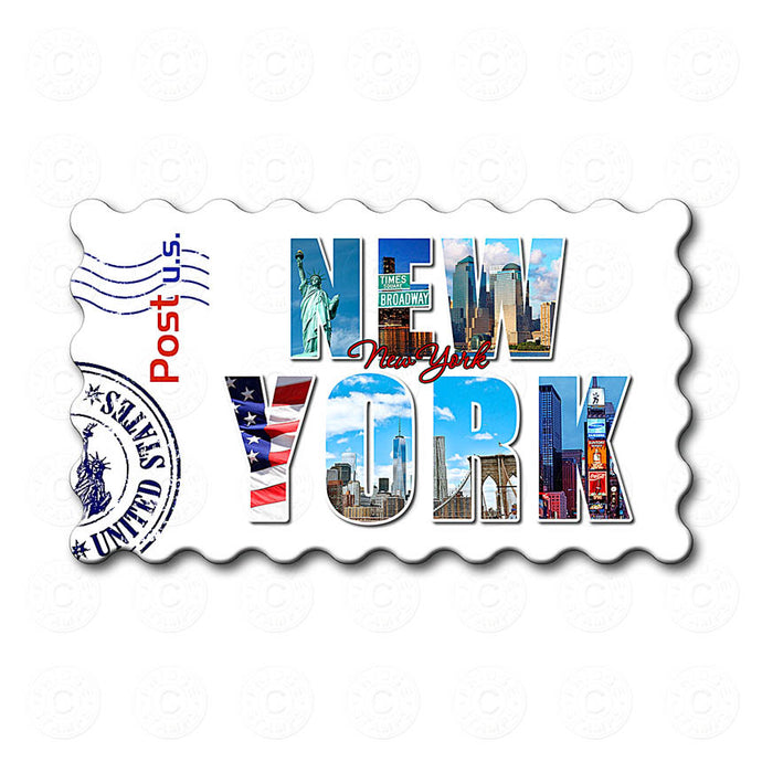 Fridge Magnet - Decorated New York Word (White)