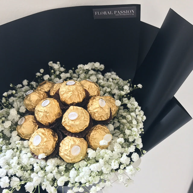Chocolate Lover - Fererro Rocher & Baby's Breath Bouquet