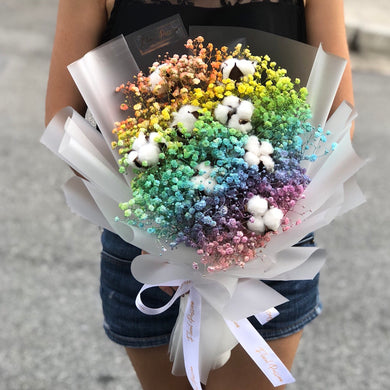 Rainbow Baby's Breath and Cotton Bouquet