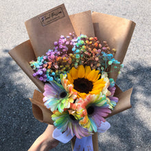 Sunflower, Rainbow Gerbera & Baby's Breath Bouquet