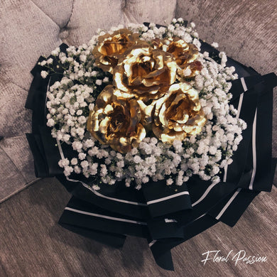 Artificial Gold Coloured Foil Roses & Baby's breath