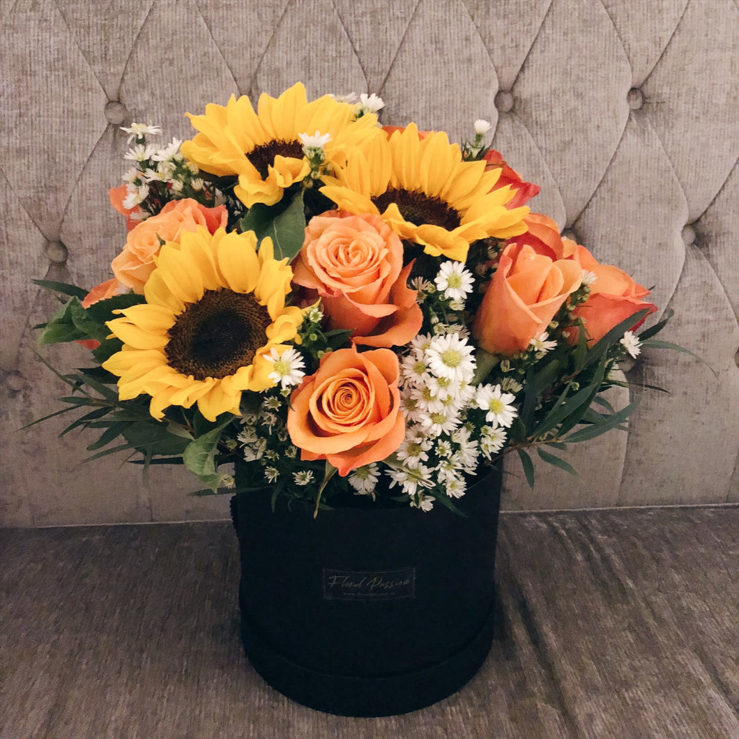 Bucketful of Sunshine - Sunflower & Roses Box