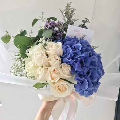 Blue-tiful - Hydrangeas & Roses Bouquet