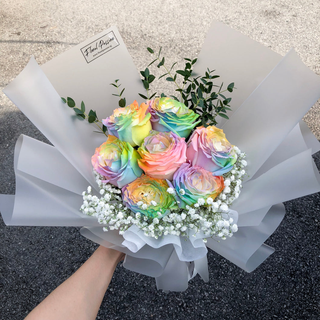 Valentine's Day Launch Bouquet - Rainbow Roses Bouquet