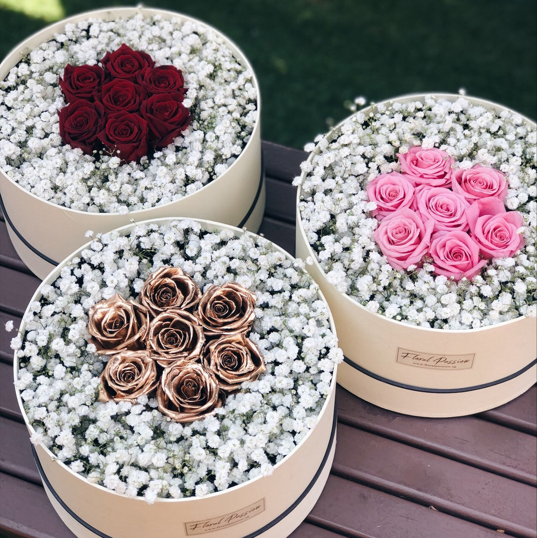Preserved Roses & Baby Breath'sFlower Box