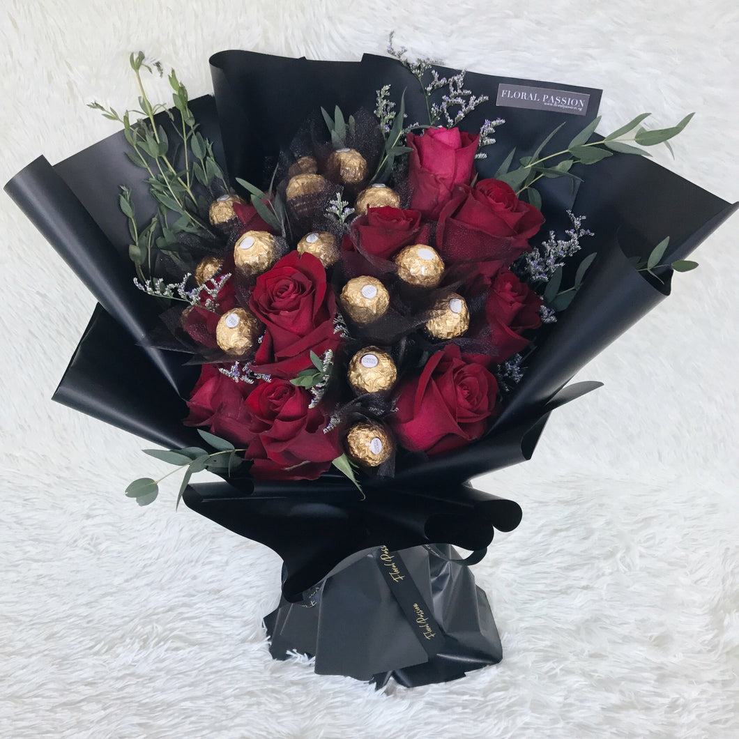 My Valentine Ferrero Rocher Rose Bouquet Floral Passion Sg
