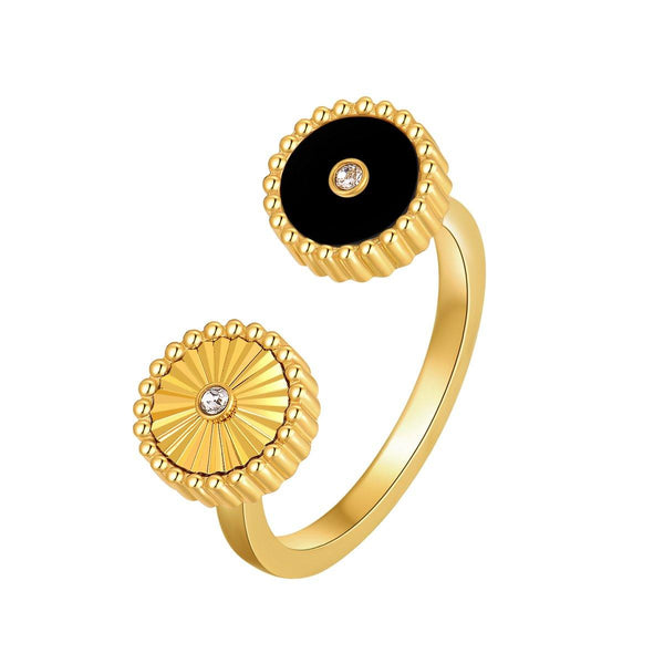 Kanz / Ring Black Gold Stone - MINIMALIST