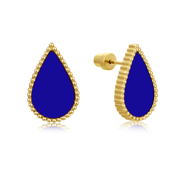 Sapphire Drop / Earrings Gold
