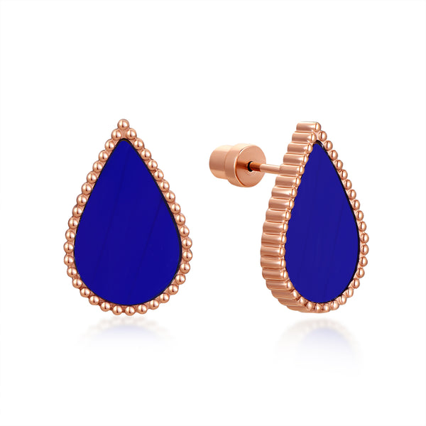 Sapphire Drop / Earrings Rose Gold