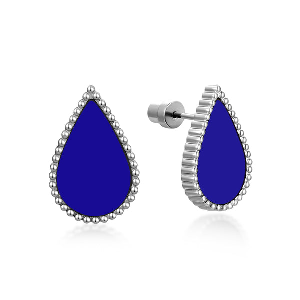 Sapphire Drop / Earrings Silver