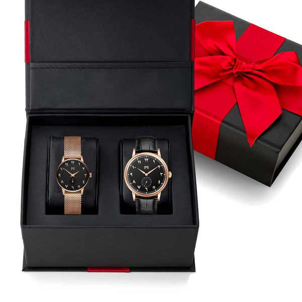 Rose Gold / Black Leather / Mouza - Gift Set