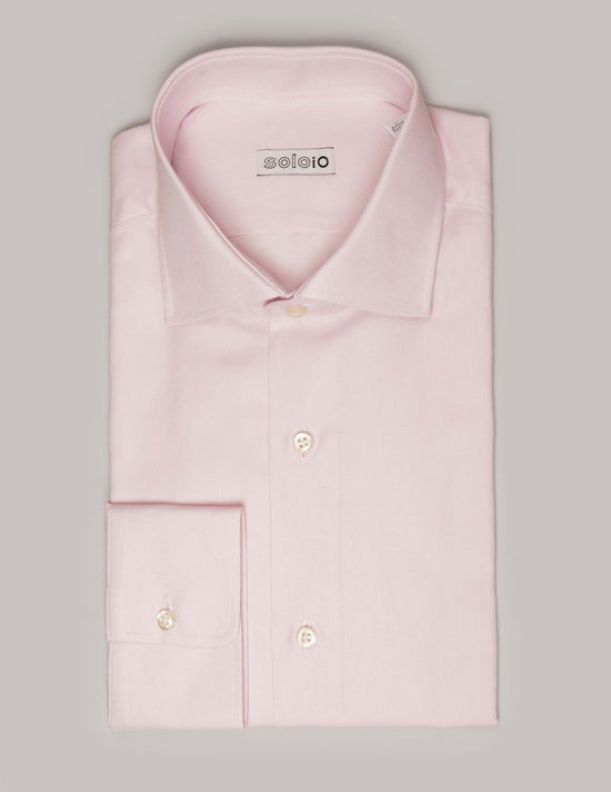 Camisa Rosa Lisa. Cuello Italiano y Puño Normal.