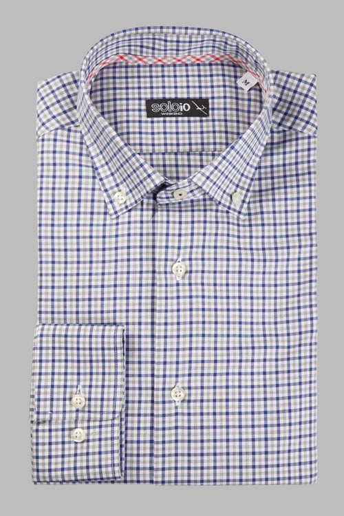 Camisa button down tartan azul