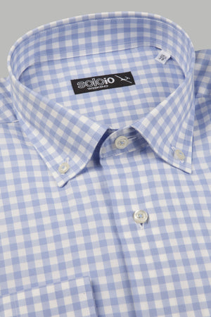 Camisa cuadros azules cuello button down