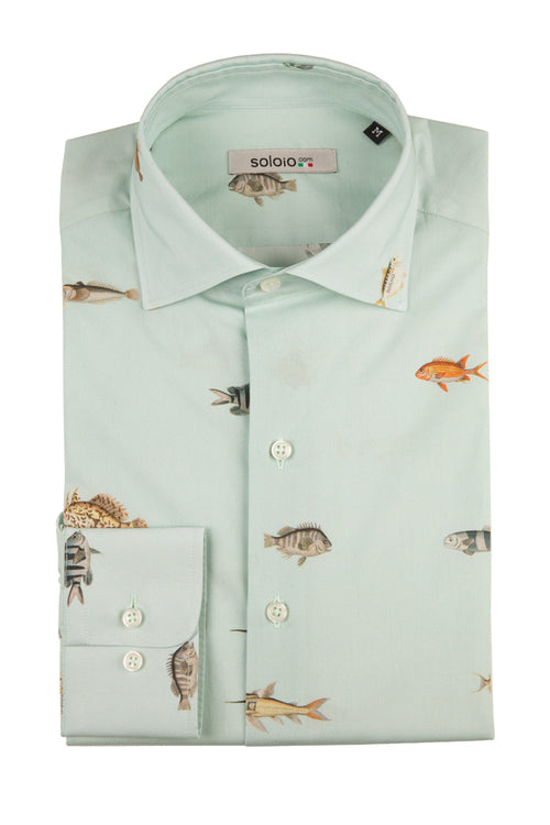 Camisa Banco de Peces Cuello Italiano y Puño Normal