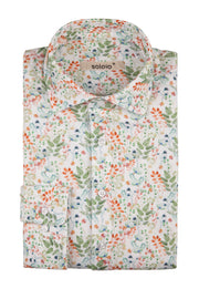 Camisa Flores Color de Piqué Cuello Italiano y Puño Normal