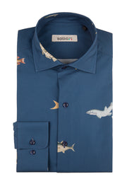 Camisa Banco de Peces Grande Cuello Italiano y Puño Normal