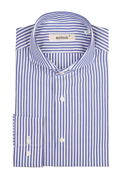Camisa de Rayas Finas Azul Cuello Cut away y Puño Normal