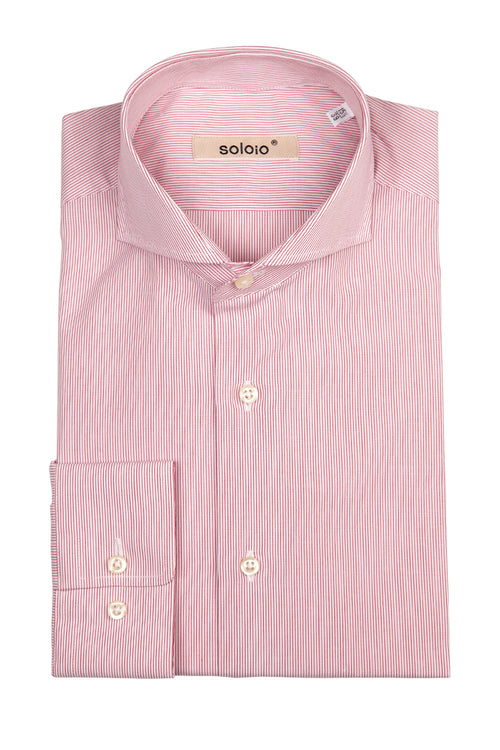 Camisa de Rayas Finas Rosa Cuello Cut Away y Puño Normal
