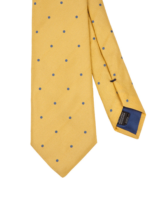 Corbata Collection Pois Amarillo Celeste