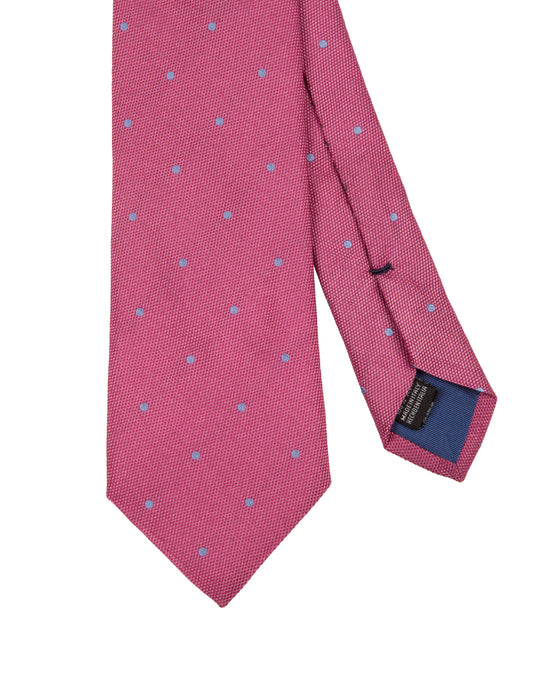 Corbata Collection Pois Rosa Celeste
