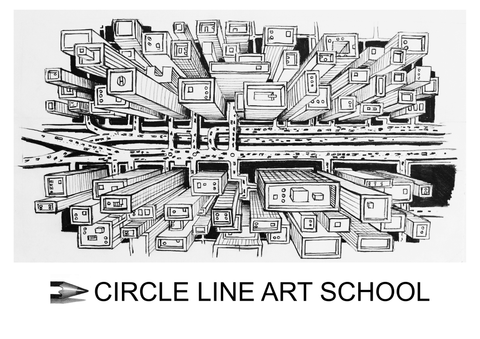 Digital Download: A City in 1-Point Perspective: Bird's Eye View: Episode 63: Circle Line Art School