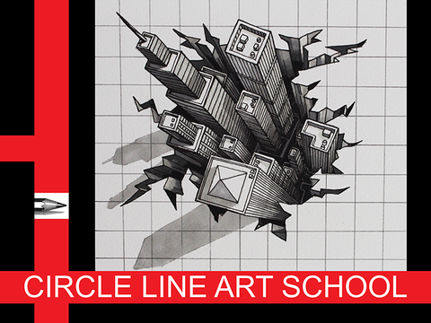 Digital Download: 3D City Optical Illusion: Red: Episode 141: Circle Line Art School