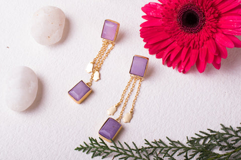 Lavender designer earrings