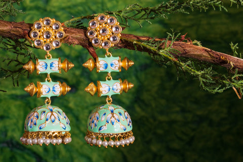 Pastel shaded Meenakari Jhumkas