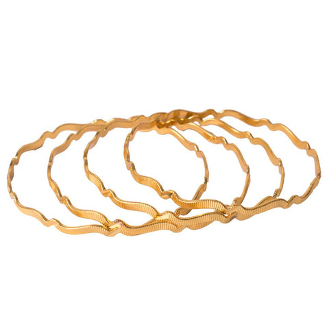 Wave gold plated bangles