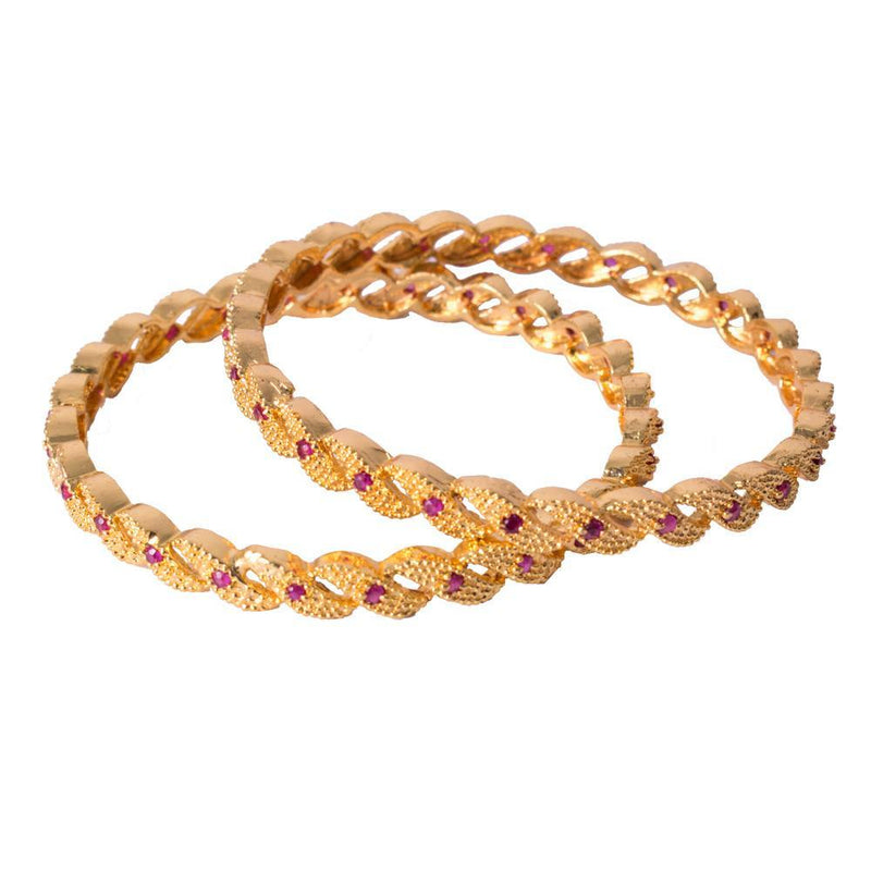 Curved gold bangles