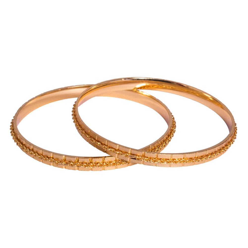 Carved gold plated bangles