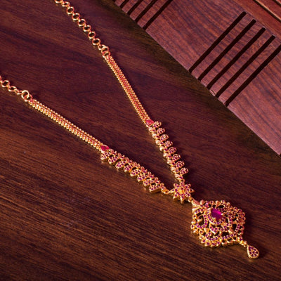 Petite gold ruby necklace